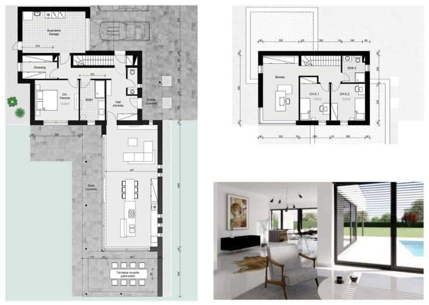 Plan architecture moderne